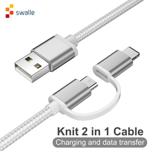 Swalle 2 in 1 knit usb cable micro usb c cable fast charger