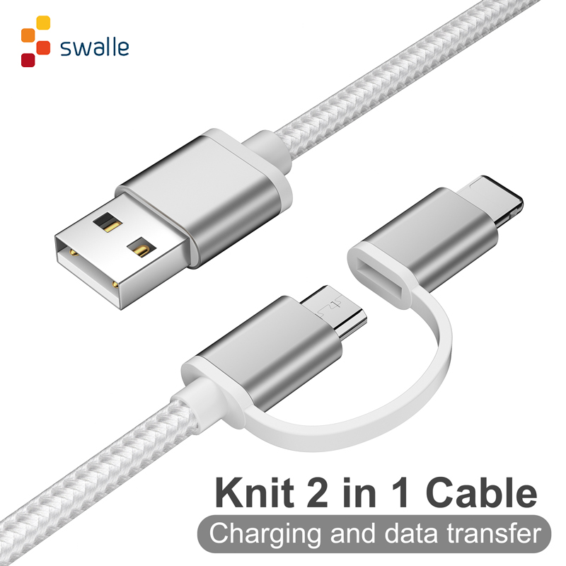 Swalle <font><b>2</b></font> in 1 knit usb cable micro usb c cable fast charger 2A usb data cable for iPhone andriod mobile phone cable image