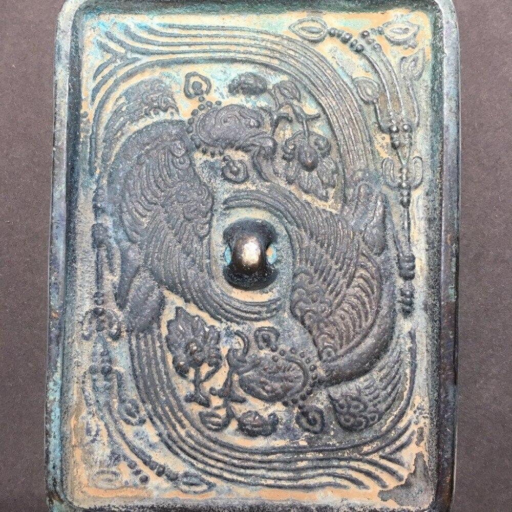 Ornamento requintado espelho de bronze antigo (phoenix dobro)