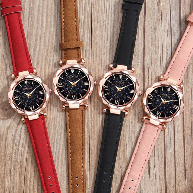 Fashion Roman Scale Watch Women's Quartz Diamond Wristwatch Stars Little Point Frosted Belt Watch Men and Women Casual Watch 5