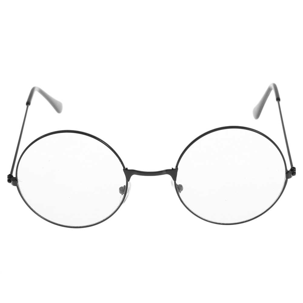 חדש Vintage נקה עדשות משקפיים נשים Nerd חנון Eyewear רטרו מתכת מסגרת משקפיים שחור גדול עגול מעגל משקפיים