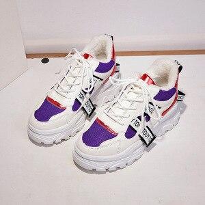 Image 2 - WFL/женские кроссовки на платформе; Не сужающийся книзу массивный папа; Обувь на толстой нескользящей подошве; Модная обувь для женщин; Спортивная обувь