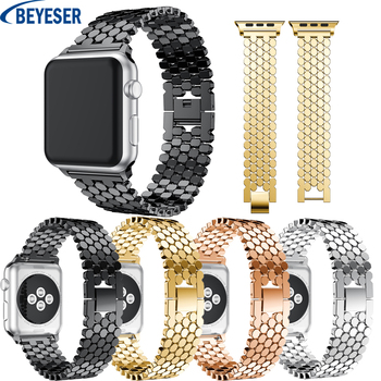 Stainless Steel Strap for Apple Watch 38mm 40mm Series 5 4 3 2 1 Metal Watchband Five Link Bracelet for Apple Watch 42mm 44mm hoco 42mm watchband steel stainless metal strap classic buckle adapter watch bands for apple watch