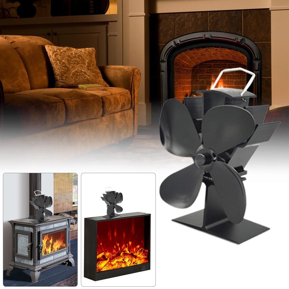 Eco Warm Winter Fireplace Fan 4 Blades Fireplace Fan Thermal Energy Burner Fan Heat Driven Circulation For Fireplace