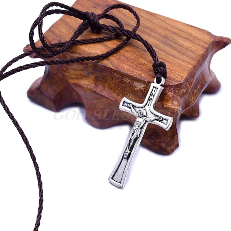 Retro Rope Jesus Cross Necklace Pendant Jewelry For Men Women Catholic Religious Christian Charm Gift High Quality