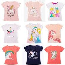 Вечерние топы с единорогом для маленьких девочек, летние футболки с короткими рукавами для девочек, Повседневная футболка, одежда для малышей 3, 4, 5, 6, 7, 8 лет