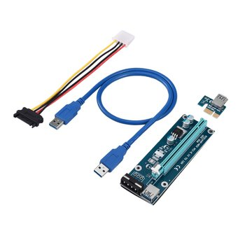 PCI-Express PCI-E 16X Extender Riser Karte USB 3.0 SATA 15P-4Pin Adapter Slots With Fixed Card Buckle Portable