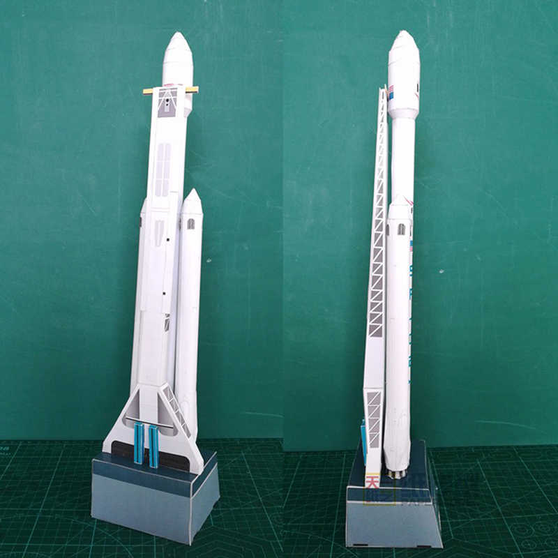 30cm 1:300 SpaceX Falcon robuste fusée 3D papier modèle Puzzle étudiant main classe bricolage espace Papermodel Origami jouet