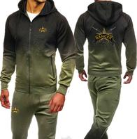 U.S. Army Rangers Print Men's Tracksuits Hoodies+Pants Men Clothing Set Sportswear Autumn Hoodies Zipper Sweatshirts Sporting