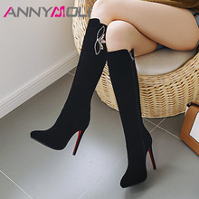 ANNYMOLI Winter Knee High Boots Women Crystal Stiletto Heel Tall Boots Sexy Zip Super High Heel Shoes Ladies Autumn Plus Size 43 annymoli winter ankle boots women rhinestone stiletto high heel short boots zip pointed toe shoes ladies autumn plus size 34 43