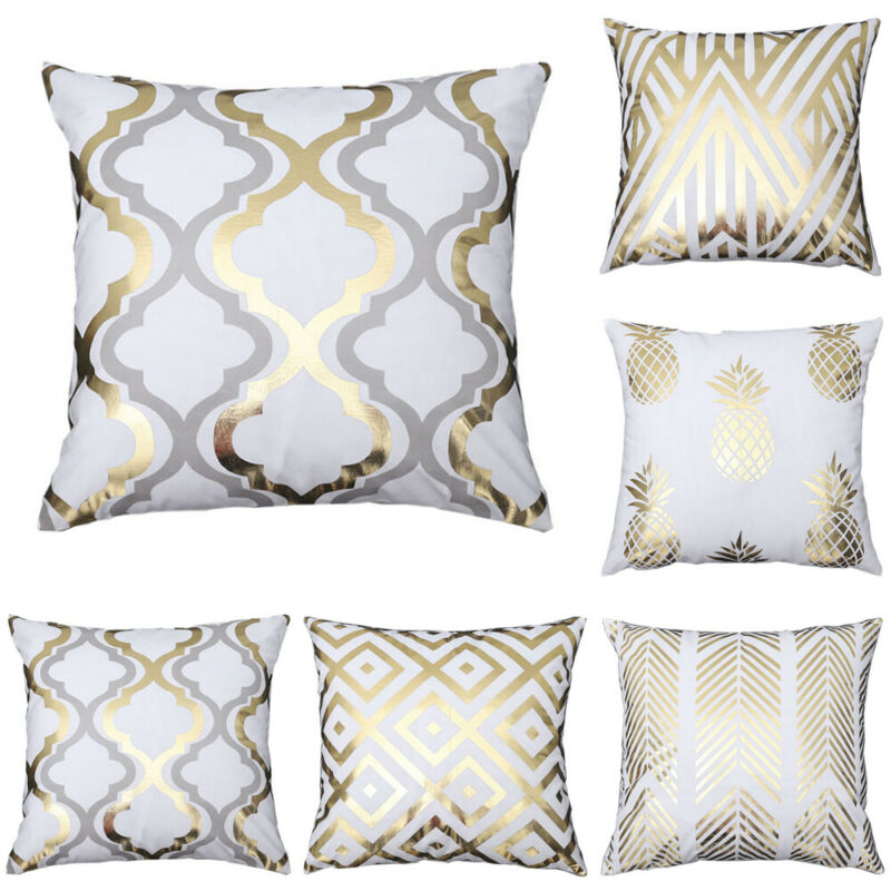 Geometric Bronze White Gold Pattern Cushion Cover Pillow Case Luxury Style