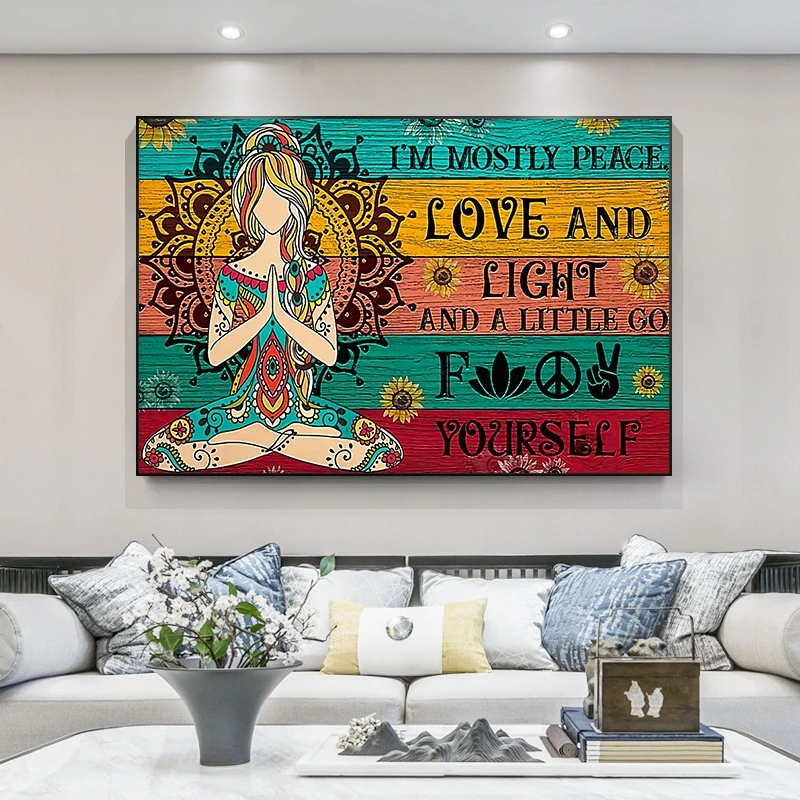 Abstract Art Love and Peace Canvas Painting Yoga Meditation Wall Art Poster Bedroom Living Room Home Decoration Mural(No Frame)