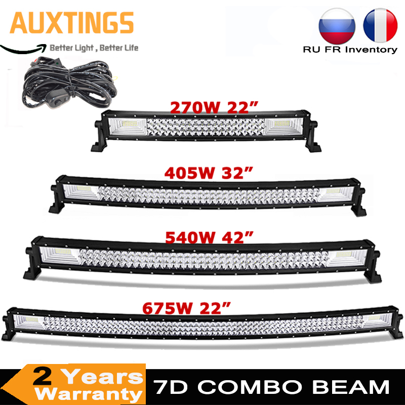 22 32 42 52 Inch 270W 405W 7d Off Road Led Light Bar Curved LED Driving Lights 4x4 Offroad Truck SUV ATV Tractor Boat 12v 24v