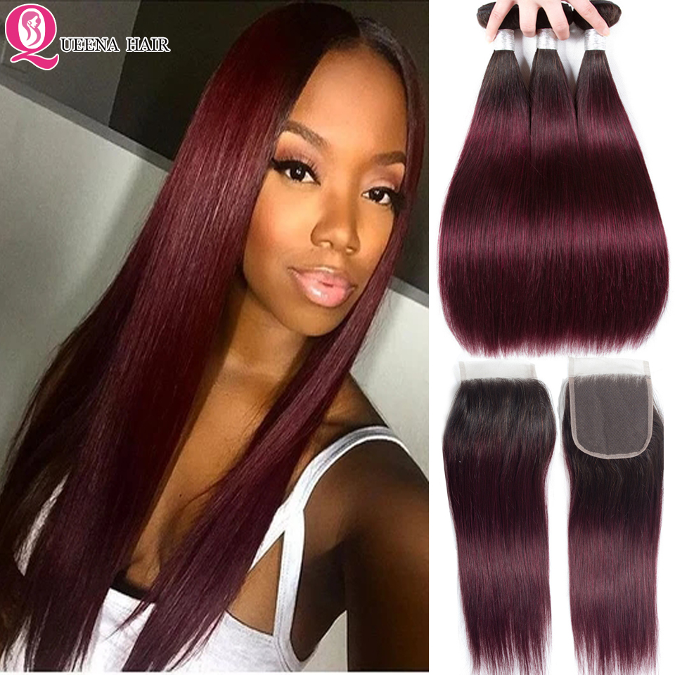 1B 99J Bundles With Closure Ombre Colored Bundles With Closure Remy Peruvian Straight Human Hair Weave 3 Bundles With Closure