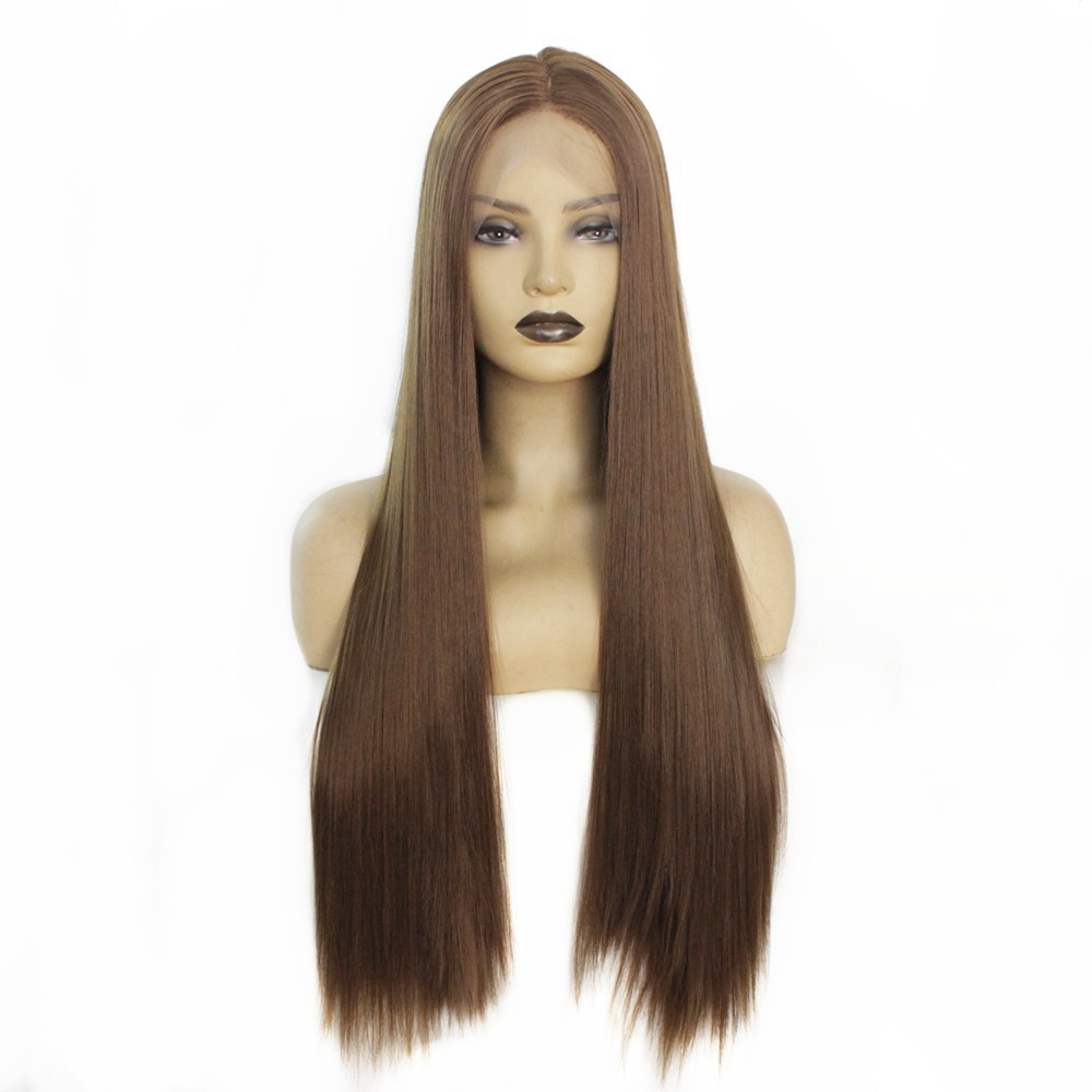 Long Silky Straight Synthetic Hair Brown Color 8# Heat Resistant Lace Front Wigs for Women Natural Hairline Middle Part 24 Inch