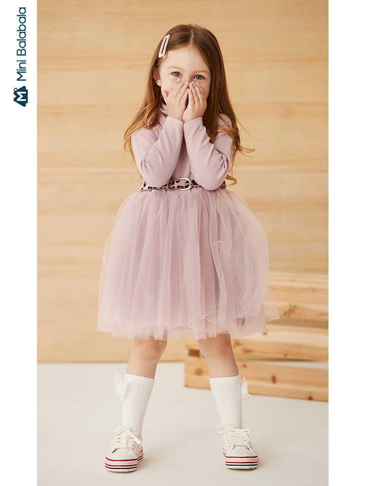 Minibalabala Girls mesh dress cherry printed 2019 autumn new long sleeve high neck fluffy dress
