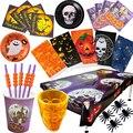 Салфетки с надписью Happy Halloween, фольгированные воздушные шары, тыква, призрак, лечения, тарелка, скатерть, сделай сам, строительные материалы д...