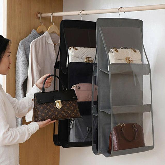29  6 Pocket Folding Hanging Large Clear Handbag Purse Storage Holder Anti-dust Organizer Rack Hook Hanger