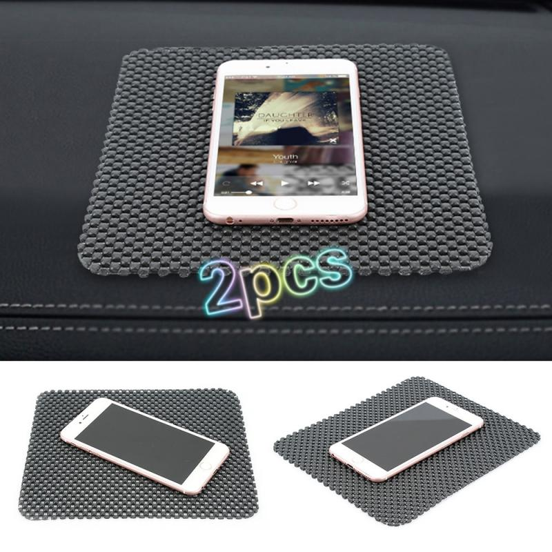 2pcs Black PVC Auto Car Anti Slip Dashboard Sticky Carpet Pad Non Slip Mat Holder Cell Phones GPS Car Interior Tool Auto Part