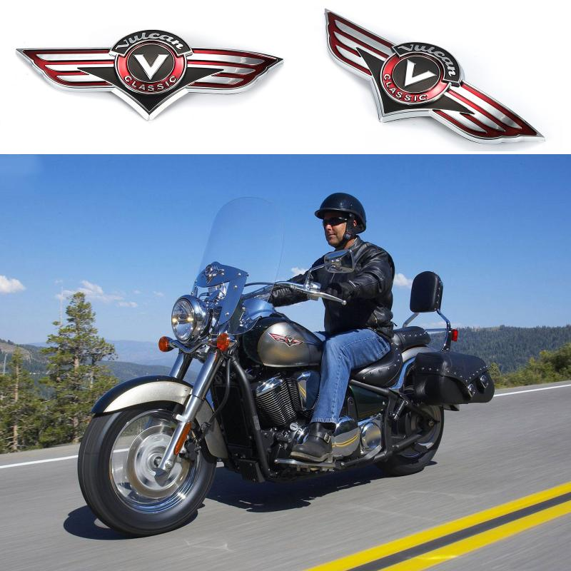 Motorcycle Chrome Gas Tank Emblem Badge Decals For Kawasaki Vulcan VN Classic VN400 VN500 800 1500 1600 1700 2000 X 2pcs