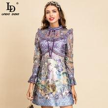 LD LINDA DELLA New 2021 Fashion Designer Summer Dress maniche svasate da donna splendido pizzo Patchwork cartoni animati stampa Mini abito