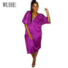 WUHE Women Clothing Casual Deep V Neck Open Back Lantern Sleeves Loose Dress Femme Summer Hollow Out Party Dress Plus Size XXL