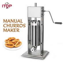 цена на ITOP Manual Vertical 5L/7L/10L/15L Churros Maker Machine Stainless Steel Spanish Fritter Machine With 3 Nozzles Food Processors