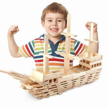 De Madera bloques de construcción 100 Uds juguete de madera maciza de pino de Kit de juego para los niños bloques de construcción educativos conjunto