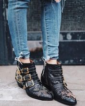2019 Rivets Real Leather Women Booties Buckle Straps Thick Heel Black Ankle Boots Studded Decorated Woman Motorcycle