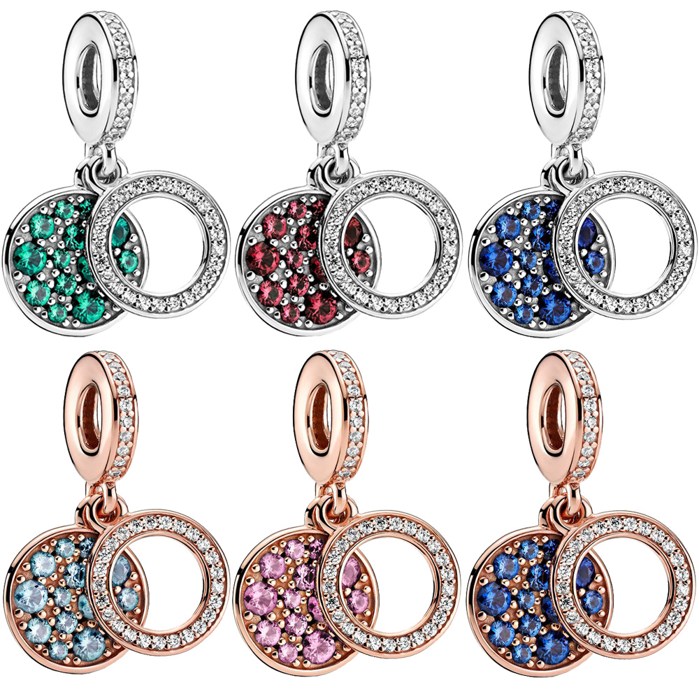Nouveau 925 perles en argent Sterling étincelant coloré Zircons disque Double pendentif breloques ajustement Original Pan Bracelets femmes bijoux à bricoler soi-même