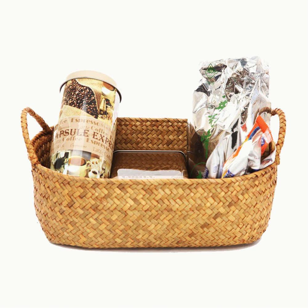 جديد اليدوية Straw بها بنفسك القش زهرة وعاء سلة الفاكهة أشتات المنظم الروطان صندوق النبات سلة تخزين تخزين الحاويات