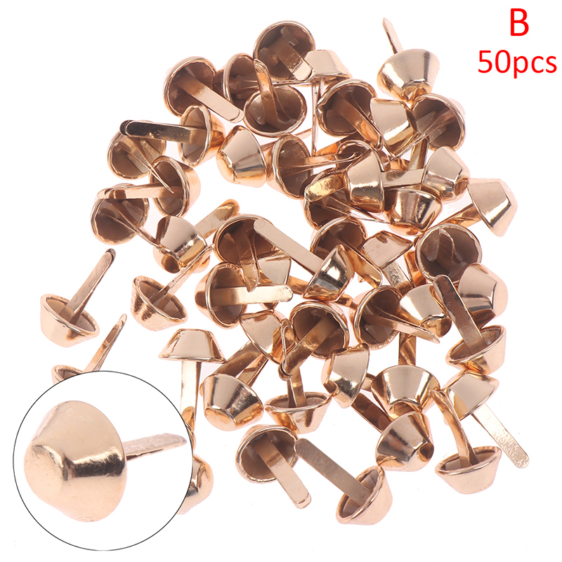 50pcs 12mm Metal Crafts Purse Feet Rivets Studs Pierced For Purse Handbag Punk Rock Rivets Bag Leather DIY Accessories