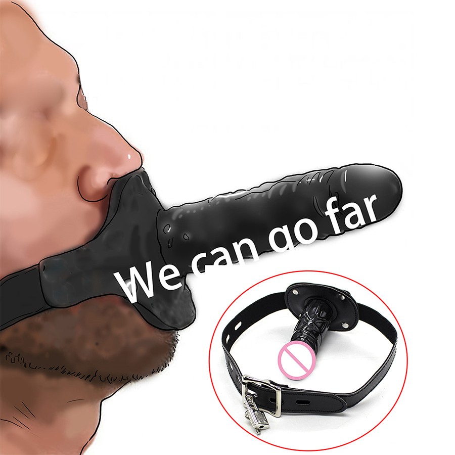 Leather Bondage Strap On Muzzle Silicone Dildo Gag ,Open Mouth Plug, Penis Oral Gag,Adult Sex Toys