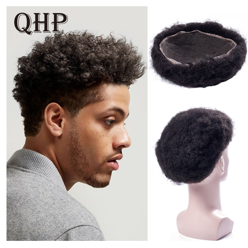 Mens Toupee Wig Full Lace Afro Kinky Curly Replacement Hair System Handmade Hairpieces Indian Human Remy Hair
