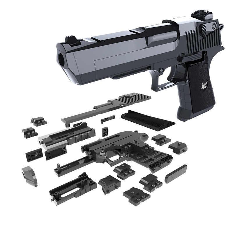 Diy arma militar pistola pistola desert eagle coleção modelo pode fogo blocos de construção brinquedos para crianças meninos presentes não arma