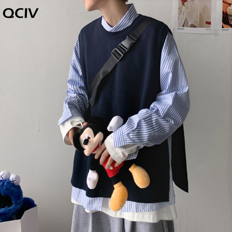 Autumn Korean Sweater Vest Men's Fashion Casual O-neck Knitted Pullover Men Clothes Streetwear Loose Mens Vest Knitting Sweaters