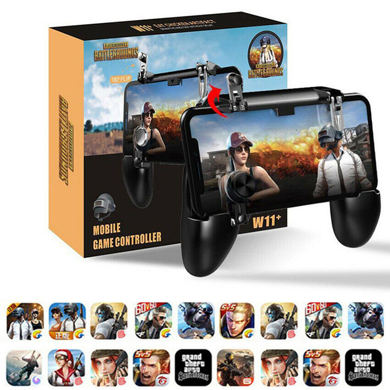 W11+All in One Mobile Gaming Game Pad Fortnit Free Fire PUBG Mobile Game Controller PUBG Gamepad Joystick Metal L1 R1 Trigger