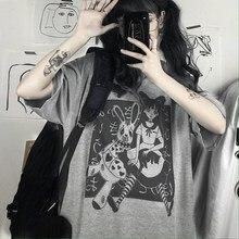 Bigorange harajuku t camisa estética do punk gótico dos desenhos animados manga curta o pescoço topos feminino verão solto oversize streetwear tshirt