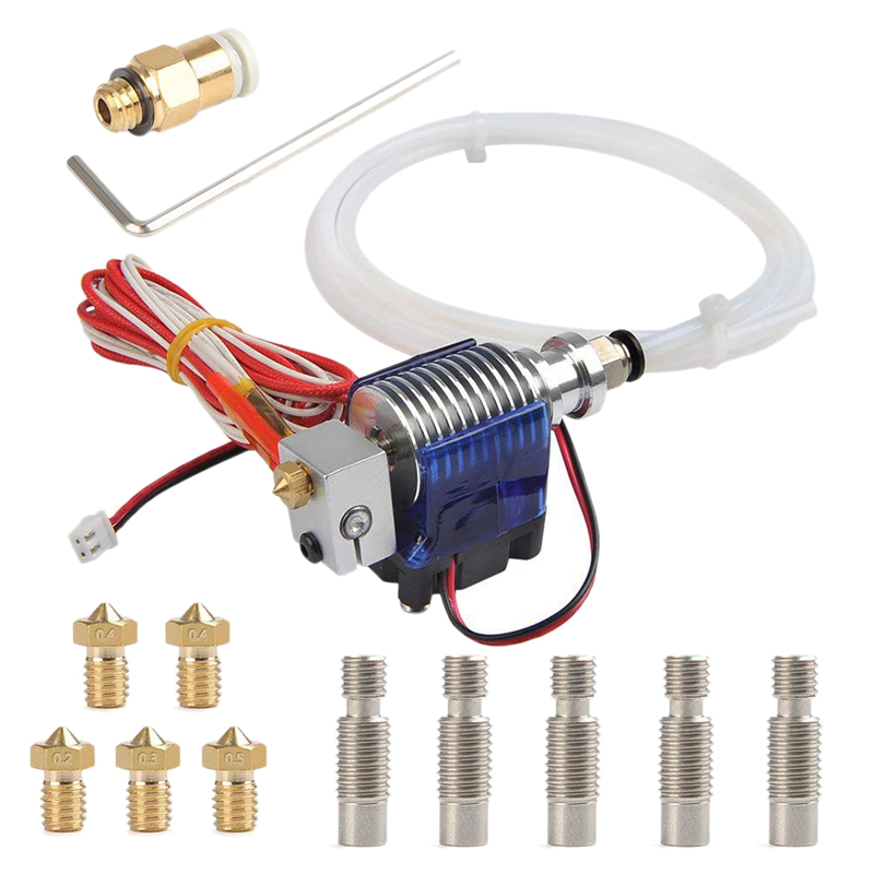 All Metal J Style Head Hotend Full Kit With 5 Pcs Extruder Print Head + 5 Pcs Nozzle Throat For E3D V6 Makerbo