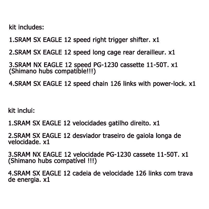 SRAM SX AIGLE Groupe 1x12 12 vitesses 11-50T VTT Groupe Kit Déclencheur manette de vitesse arrière Dérailleur Chape Longue Chaîne NX AIGLE cassette - 2