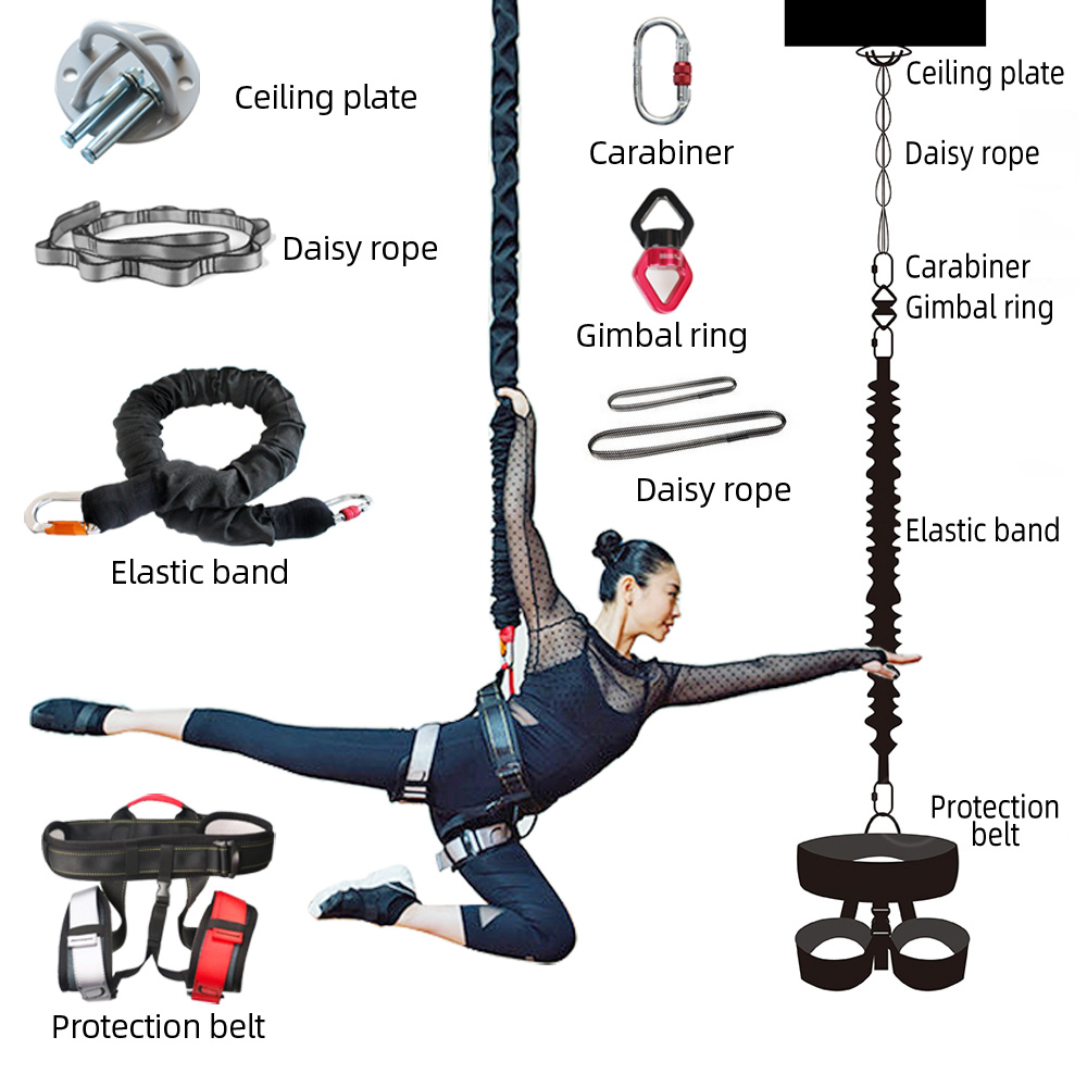 Permalink to New Bungee Dance Flying Suspension Rope Aerial Anti-gravity Yoga Cord Resistance Band Set Workout Fitness Home GYM Equipment
