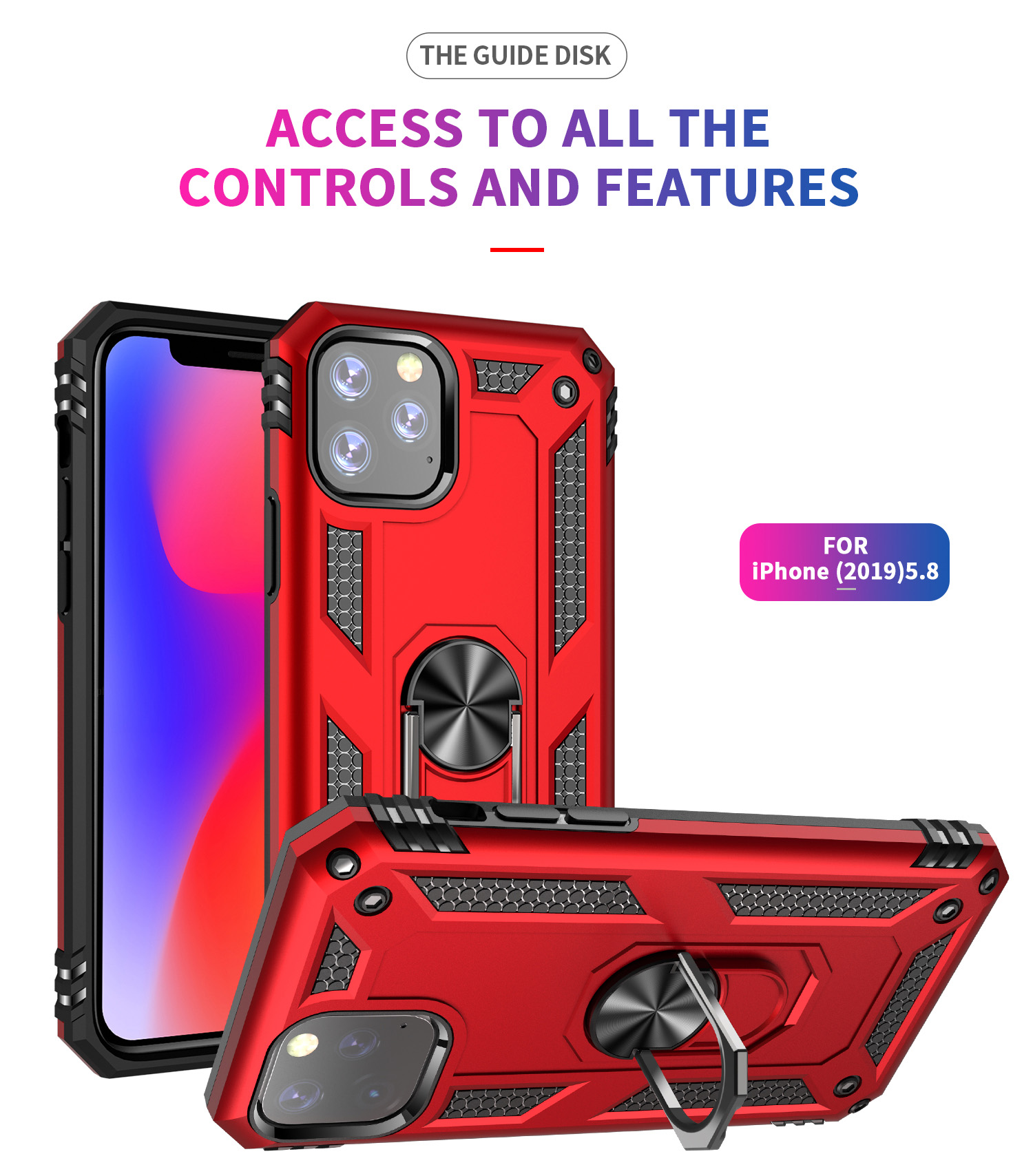 For <font><b>iphone</b></font> 11 8 <font><b>7</b></font> 6 6s X XS XR XSMax Shockproof Armor Magnetic <font><b>Ring</b></font> Car <font><b>Holder</b></font> <font><b>Case</b></font> for <font><b>iphone</b></font> 11pro 11ProMax 6Plus 7plus 8plus image