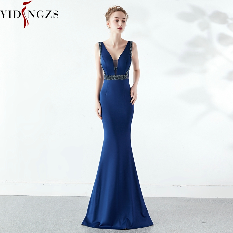 YIDINGZS V-neck Elegant Party Dress See-through Beaded Long Evening Dress YD1260