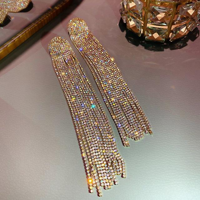 FYUAN Long Tassel Full Rhinestone Drop Earrings for Women Ovsize Crystal Dangle Earrings Fashion Jewelry Accessories 5