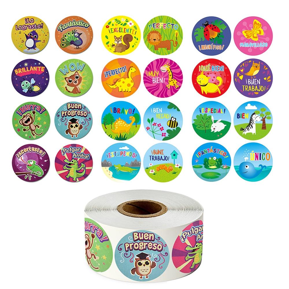 500 pces/rolo espanhol recompensa adesivos animais bonitos dos desenhos animados adesivos para professores estudantes incentivo papelaria adesivo