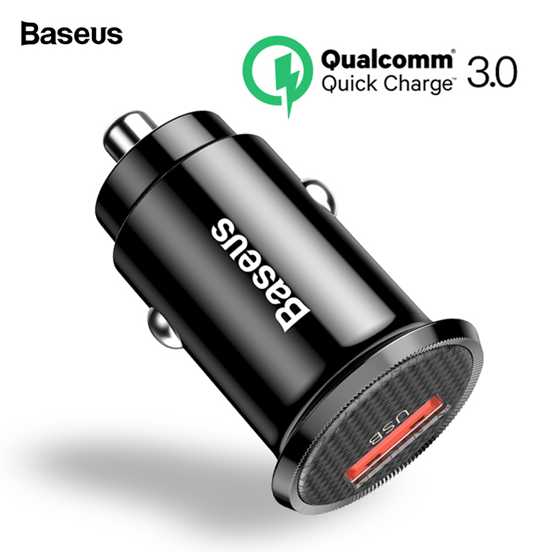 Baseus Mini USB <font><b>Car</b></font> <font><b>Charger</b></font> <font><b>Quick</b></font> <font><b>Charge</b></font> <font><b>3.0</b></font> <font><b>Car</b></font> Phone <font><b>Charger</b></font> For iPhone Samsung Xiaomi mi QC3.0 QC Fast Mobile <font><b>Car</b></font> Charging image
