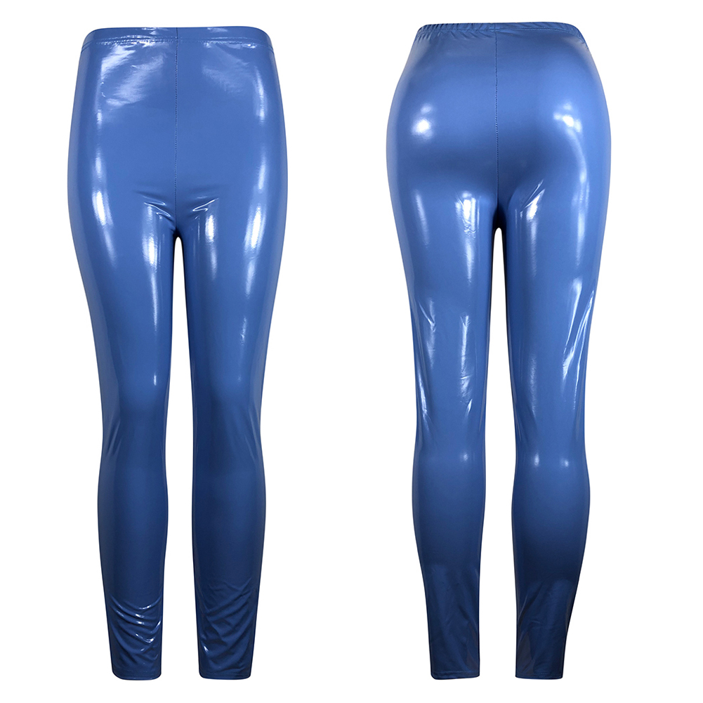 Hot Sexy Women Gothic Leggings Wet Look PU Leather Leggings Black Slim Thin Long Pants Ladies Skinny Leggings Stretchy Plus Size 22
