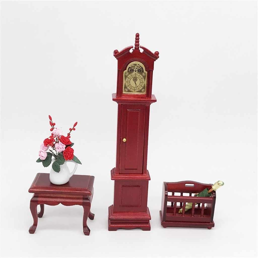 1:12 puppenhaus Möbel Miniatur Holz Uhr Korb Wohnzimmer Pretend Play Simulation Puppe Haus Zubehör Kid Spielzeug M850 #