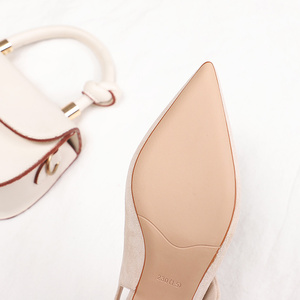 Image 5 - 2020 เซ็กซี่บางรองเท้าส้นสูงรองเท้าผู้หญิงหนัง Faux Suede หนัง Pointed Toe ปั๊มสำนักงาน Lady Butterfly Knot รองเท้าแตะผู้หญิง