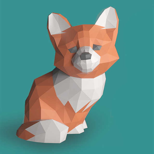 Sad Fox Animal Decor Home Decoration Paper Model Ornaments,Low Poly 3D Papercraft,Handmade DIY Origami Adult Craft Toy RTY210 3